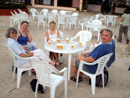 Steina, Mary, My and Donald enjoying 'all inclusive' after-dive drinks
