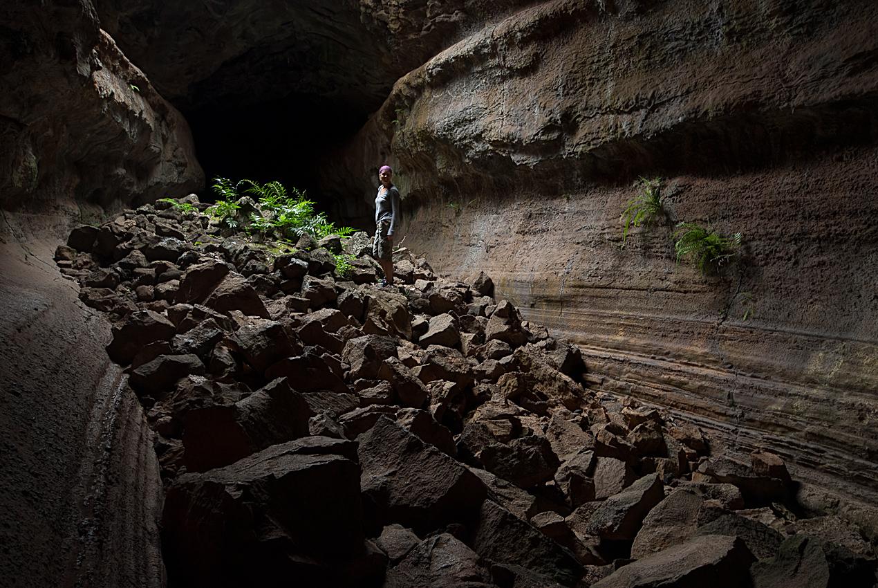 Linda in a lava tunnel