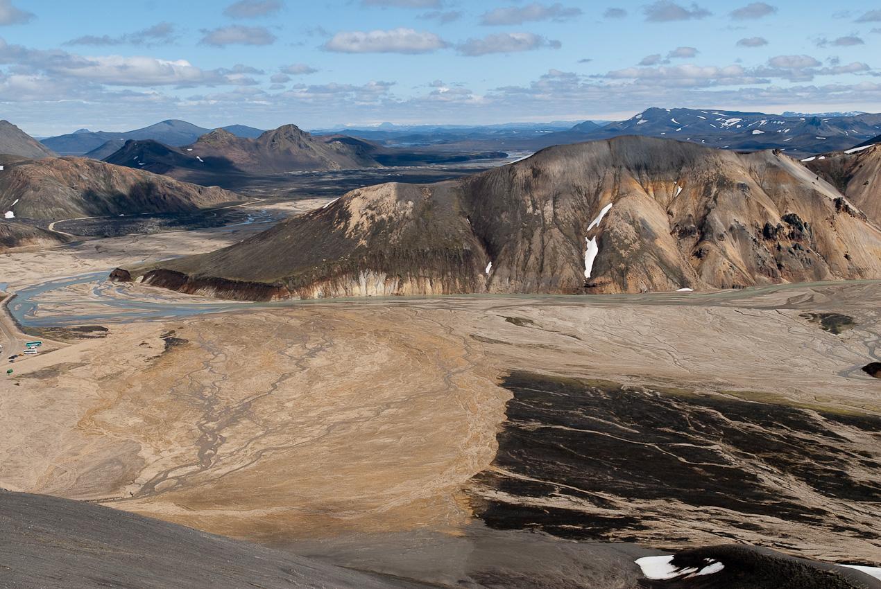 Northward view from Bláhnúkur of Norðurbarmur