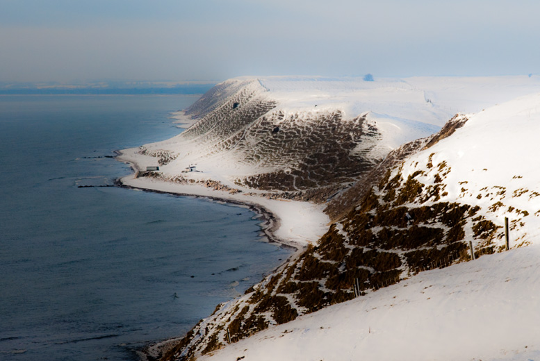 Drömska kullar under ett lätt täcke av snö