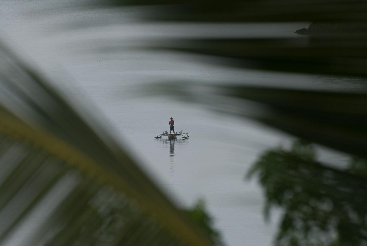 Fisherman in the lagoon