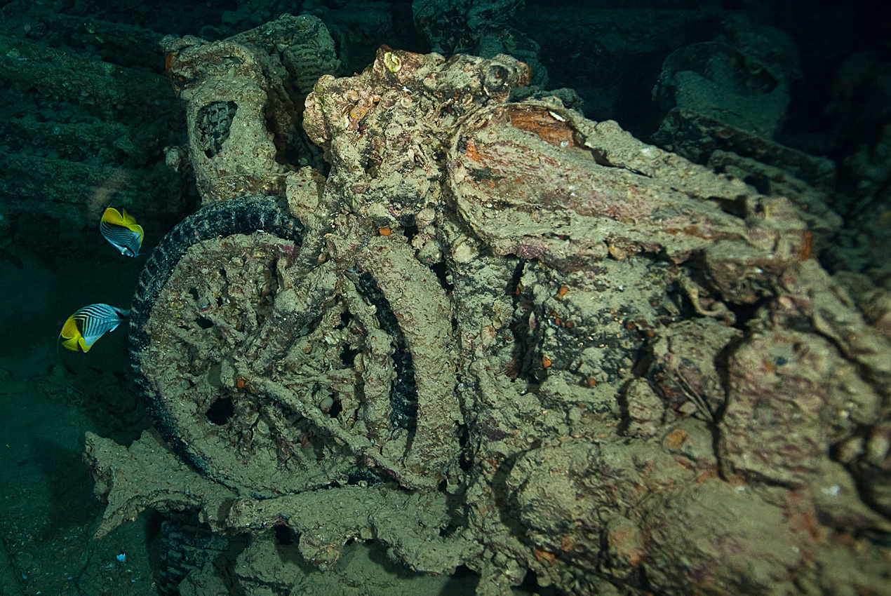 One of the famous motorbikes on Thistlegorm