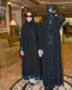The girls borrow abayas from the hotel