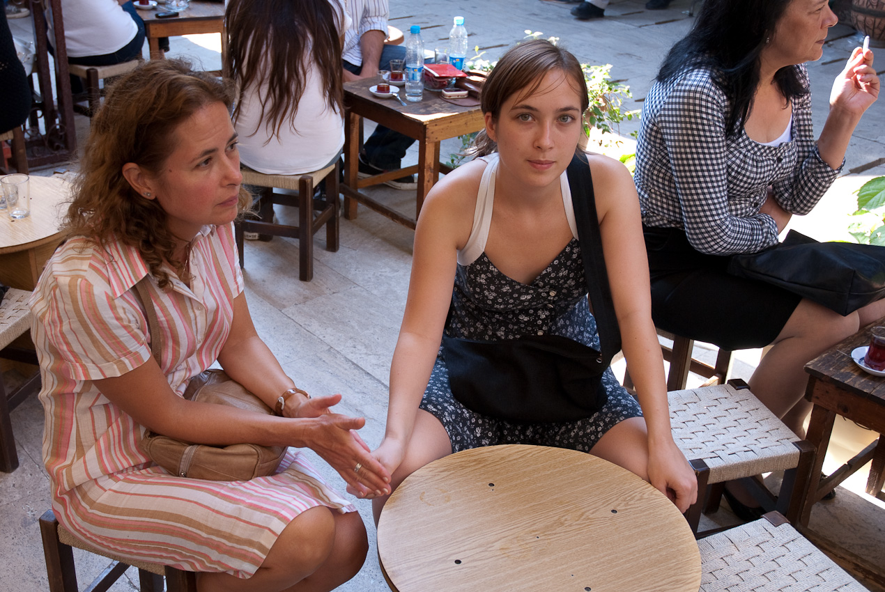 Deniz and Pelin, waiting for coffee